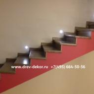 К.п. Солнечный берег. Ограждение Лестницы, лестница из дуба, декоративная перегородка из клеёной сосны.