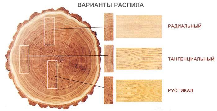 Сорта дуба разделяются по виду распила